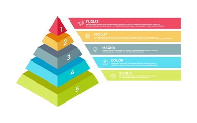 Step 3D infographic. Isometric pyramid business presentation template, step structure. Vector illustration planning technologies elements or business plan concepts with digital ladder success