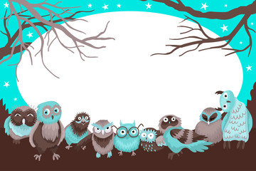 Magic frame with owls and empty dereyam, the forest picture with birds