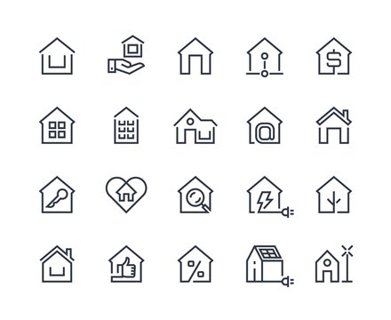 Home line icons. House interface button, browser homepage pictogram, real estate and building construction symbols. Vector set thin symbol computer management estate for mortgage and insurance