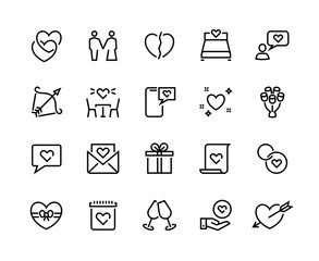 Love line icons. Volunteer charity friendship and solidarity outline pictograms, charity handshake and respect vector symbols. Loving woman with crushed heart shape and symbol hand, ring for wedding