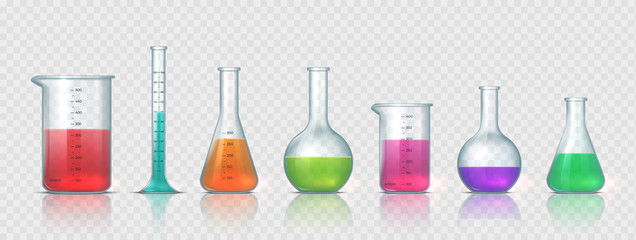 Laboratory equipment. Realistic 3D glass tubes, flask, beaker and other chemical and medicine lab measuring equipment. Vector illustration testing equipments set for science experiments or measuring