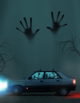 Several zombie in the Car at night.