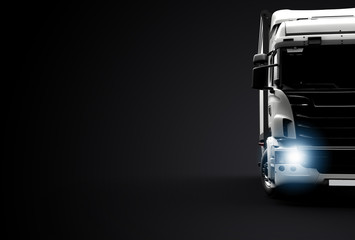 Front view of a truck on a black background