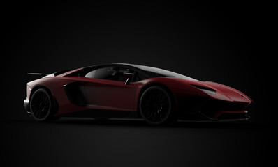 Generic and brandless red modern sport car on a black background