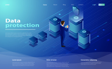 Isometric personal data protection web banner concept. Network, security data protection Isometric vector illustration. Cyber security landing page. People works with server tablet in cloud network Wall mural