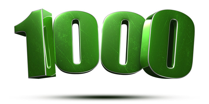 1000 3d numbers green on white background.(with Clipping Path).