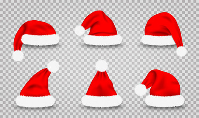 Set of Santa Claus hats. Realistic red Santa Claus's caps isolated on transparent background. Cute Christmas Santa's hats for costume and mask, design element