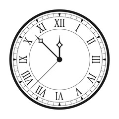 Vintage clock with Roman numerals isolated on white background. Black antique clock with arrows and Roman clock face