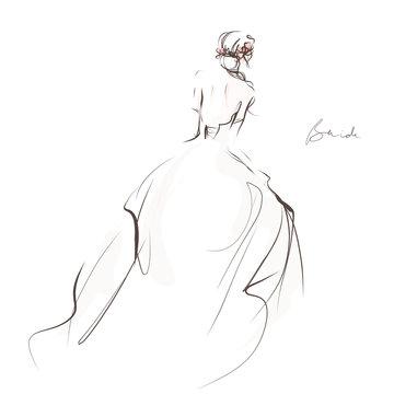 Bride in beautiful wedding dress, rear view. Hand drawn illustration, vector