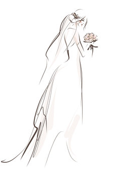 Beautiful bride with bouquet in wedding dress. Hand drawn illustration, vector