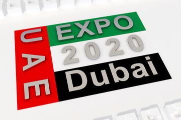 flag with text expo 2020 UAE Dubai