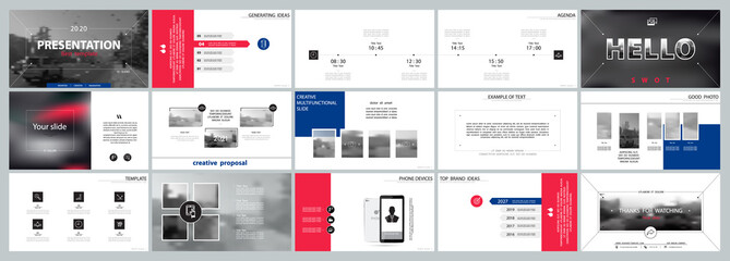 Business presentation template. Vector set, infographic elements, white background. Flyer, postcard, banner advertising marketing. Red and blue design. Slideshows, brochure, leaflets, annual report