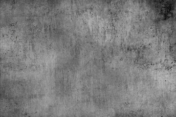 Fotobehang - Old gray concrete wall with dirty dark damage.