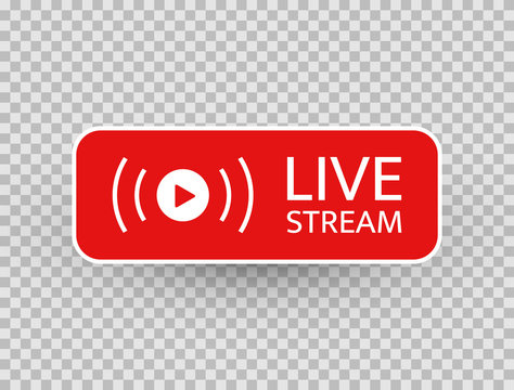 Live stream icon. Live streaming, video, news symbol on transparent background. Social media template. Broadcasting, online stream button. Social network sign. Vector illustration