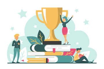 Golden trophy cup standing on the book stack vector isolated.
