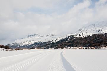 Sils, Langlauf, Langlaufloipe, Winter, Wintersport, Oberengadin, Alpen, Corvatsch, Graubünden, Schweiz