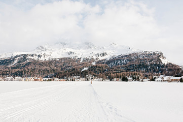 Sils, Langlauf, Langlaufloipe, Winter, Wintersport, Oberengadin, Alpen, Corvatsch, Furtschellas, Graubünden, Schweiz