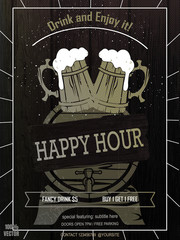 Beer Promotion Happy Hour Flyer Template on black and white wooden background. Flyer that will give the perfect promotion for your promotion. Vintage concept, art template, labels, layout, card.