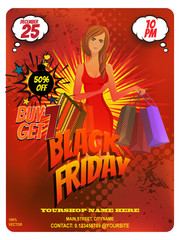 Pop art black Friday sale discount promotion card template for marketing with shop bag and girl on red grunge pattern. Retail shop discount flyer. Promote your Products and services with this banner.