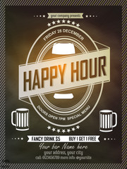Happy Hours flyer, banner or template design with frame on chalkboard background. Vintage concept background, art template, retro elements, logo, labels, layout, badge, old banner, card.