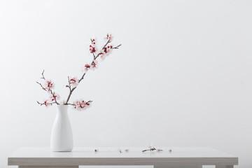 In de dag Bomen flowering cherry branch in vase on white background