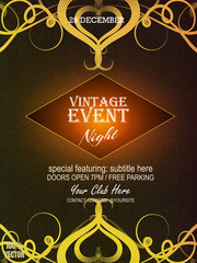 Yellow ornate vintage event invitation card design & poster & banner with vintage floral elements on black and yellow background. Design template with sample text for your promotion.