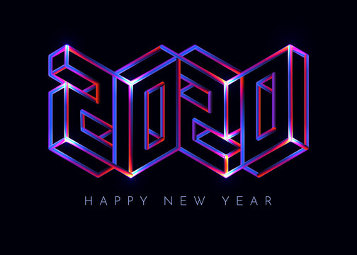 2020 Happy New Year neon sign