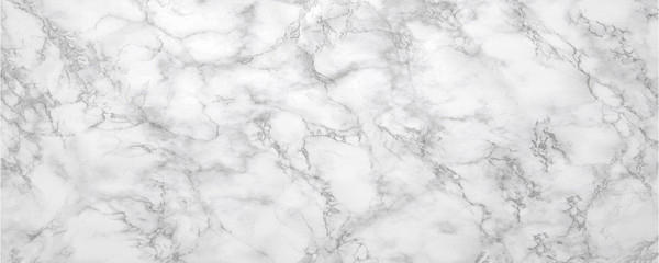 Marble background.White stone texture with gray shadow.Panoramic format. Wall mural