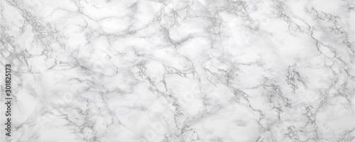 Fotobehang Marble background.White stone texture with gray shadow.Panoramic format.