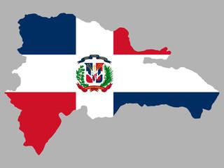 Obraz Dominican republic map flag vector - fototapety do salonu