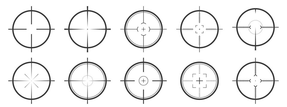 Set of vector Aim icons isolated.