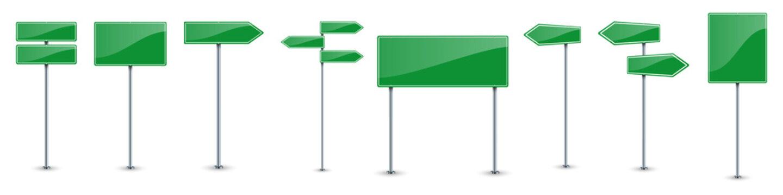 Set of green road text panels. Vector road signs.