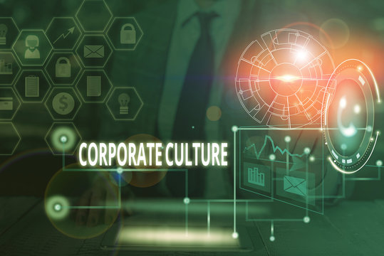 Handwriting text writing Corporate Culture. Conceptual photo pervasive values and attitudes that characterize a company Picture photo system network scheme modern technology smart device