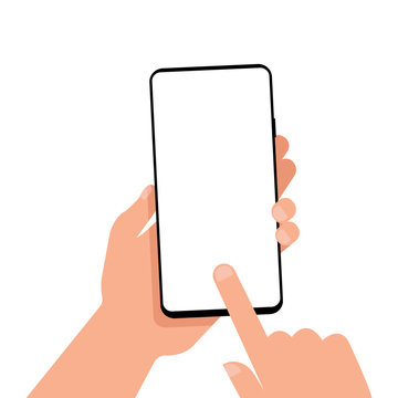 Mobile phone with a blank screen in hand. Mockup. EPS 10