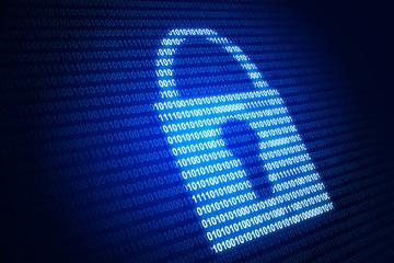 Digital lock and blue binary code Wall mural