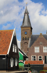 Church and houses on Marken, Holland
