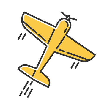 Aerobatics yellow color icon. Aerobatic maneuvers and stunt flying. Airforce show with plane. Aviation, aircraft performance. Extreme airshow. Airplanes tricks. Isolated vector illustration