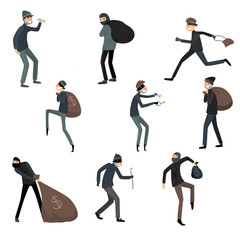 Set of thieves in masks and black suits in different action situations. Vector illustration in flat cartoon style.