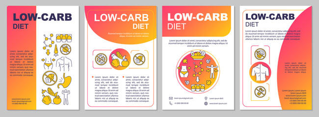 Low carb diet gradient brochure template. Keto food. Flyer, booklet, leaflet print, cover design with linear illustrations. Vector page layouts for magazines, annual reports, advertising posters