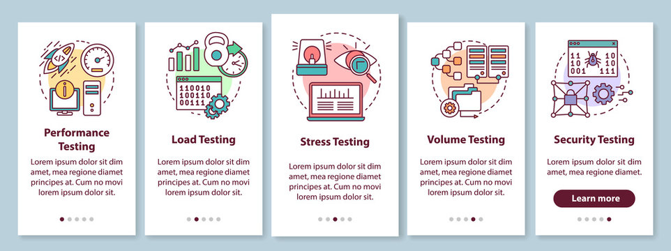 Non-functional software testing onboarding mobile app page screen with linear concepts. Program quality analysis walkthrough steps graphic instructions. UX, UI, GUI vector template with illustrations
