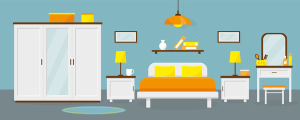 Bedroom interior with furniture. Vector flat illustration.