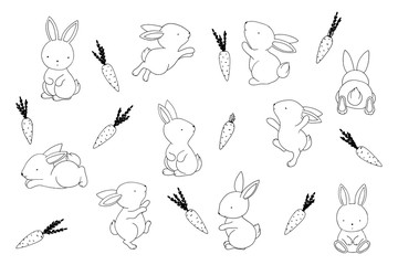 Cute little easter bunnies and carrots. Clip art set outlines, positive individual elements kit on white background