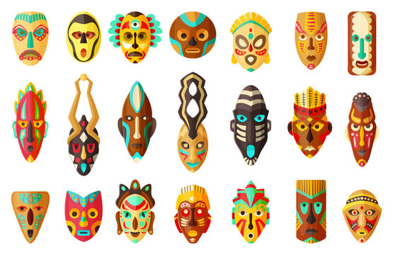 African mask cartoon set icon.tribal African mask cartoon vector illustration on white background .Vector illustration set icon face voodoo.