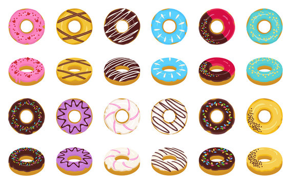 Sweet donut cartoon vector set icon. Isolated icon chocolate and cream doughnut.Vector illustration donut of sprinkles dessert on white background .