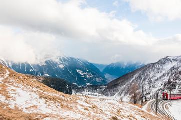 Poschiavo, Bernina, Val Poschiavo, Alp Grüm, Lago di Poschiavo, Puschlav, Val Bernina, Bernina-Express, Alpen, Graubünden, Winter, Schweiz