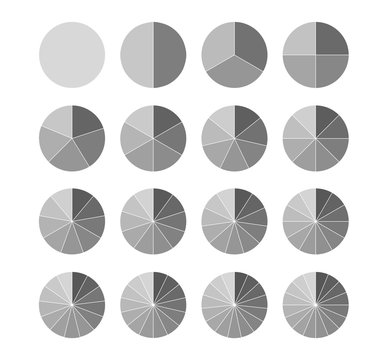 Segmented circles set isolated on a white background.Big set, of wheel diagrams. Various number of sectors divide the circle on equal parts
