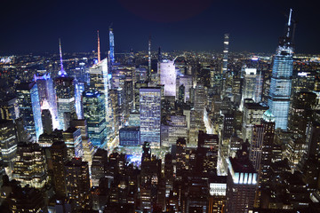 Foto auf Leinwand New York New York city night time view from Empire State building