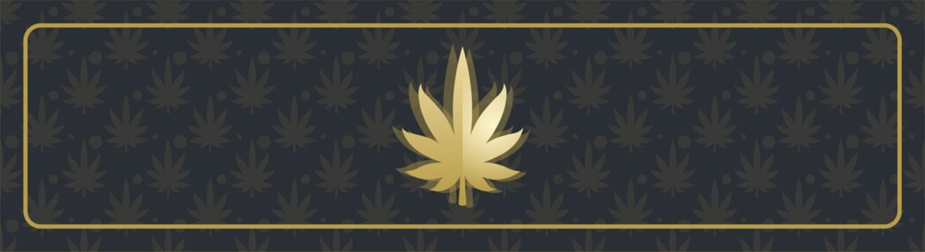 Abstract black banner with marijuana leaf