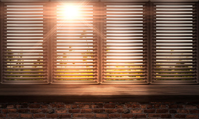 Large wooden window. Wooden table, sunshine. wooden blinds. Old brick wall. Room with a large...