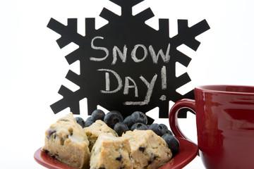 Appetizing blueberry scones start wintry snow day
